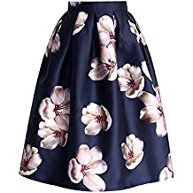 Chicwish Women's Peach Blossom Navy Floral Printed A-line Prom Midi Pleated Skirt