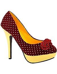 Show Story Womens Hot Polka Dots Bow High Heel Platform Stiletto Pumps,LF30426