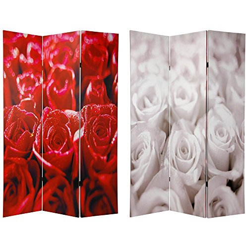 Oriental Furniture 6 ft. Tall Double Sided Roses Room Divider