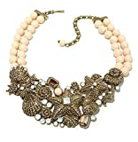 Heidi Daus Beaded 2-Row Crystal Bib Necklace ~Seashore Chic