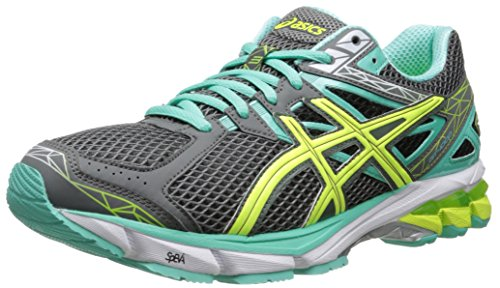 ASICS Women's GT-1000 3 Running Shoe,Charcoal/Flash Yellow/Mint,6 M (Flash Yellow Footwear)