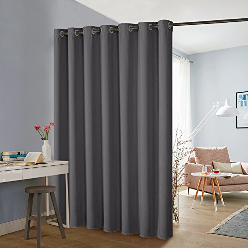 Blinds Partition - (Wide 100 x Long 84 inches, Grey) Blackout Slider Curtains Room Divider Screen Wide Thermal Drapes Light Block for Sliding Door Windows, 1 Panel ()