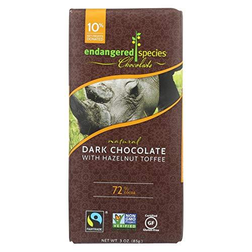 Endangered Species Dark Chocolate Bar Hazelnut Toffee Rhino ( 12x3 ()