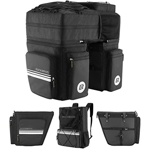 RockBros Bike Pannier Convertible Backpack Trunk Bag Cycling Rear Seat Pack Black