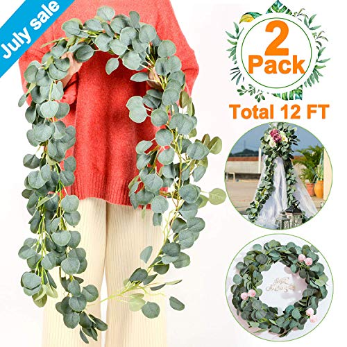 2 PCS Eucalyptus Garland-Total 12Ft Artificial Greenery Garland Vines Eucalyptus Leaf Garland Faux Silk Artificial Ivy Garland Hanging Wreath for Wedding Arch Backdrop Wall Party Decor July - Bouquet Autumn Leaf
