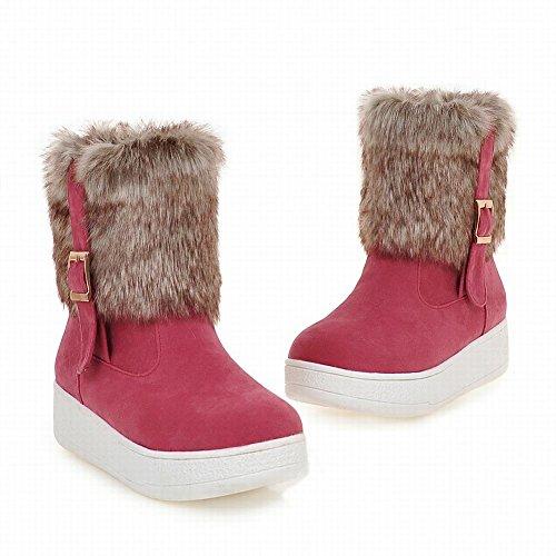 Mee Shoes Damen Pompon runde Plateau Blockabsatz Schneestiefel Rot