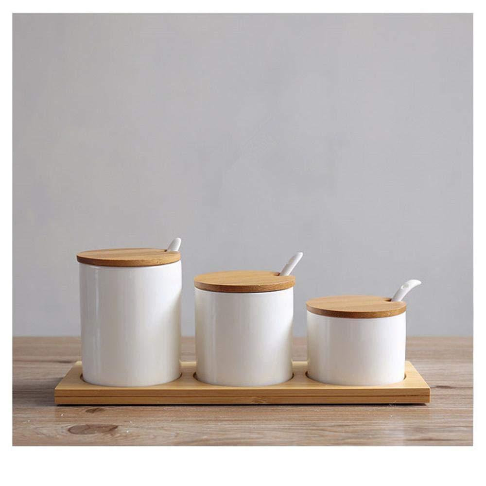 CWLLWC Gewürzbox,Küche-Spalte Ebbe und Keramik Gewürz Vorratsbehälter mit Bambus Holz Tablett