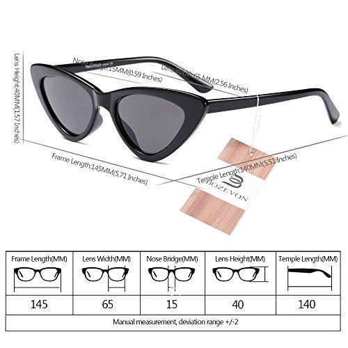 Mode à BOZEVON de soleil Dames Rétro lunettes Gris Lunettes Noir verres Triangle Femmes Vintage 4TwEqI