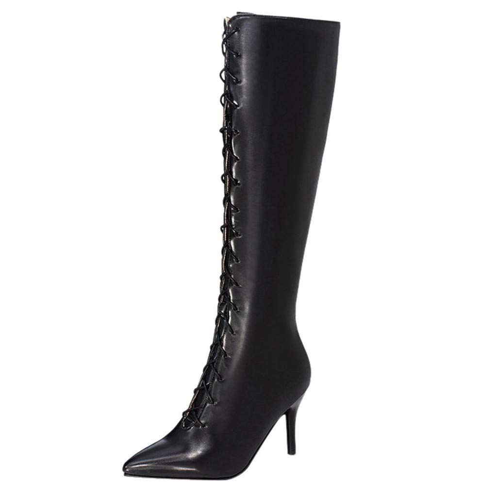 Onefa Women's Fashion Over The Knee Boots Stiletto High Heels Sexy Pointed Toe Booties Soft Stretchy Lady Shoes by Onefa