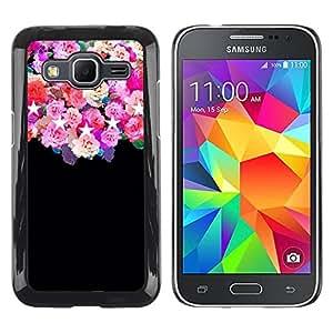 rígido protector delgado Shell Prima Delgada Casa Carcasa Funda Case Bandera Cover Armor para Samsung Galaxy Core Prime SM-G360 /Stars Pink Floral Flowers/ STRONG