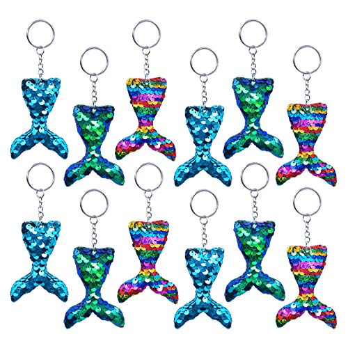 Pawliss Mermaid Party Favors, 12 Pack Flip Sequin Glitter Tails Mermaid Tail Keychains, Birthday Party Supplies Gifts Decorations for Kids Girls -