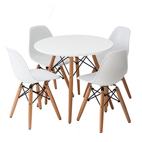 Buschman Set of White Eames Style Kids Dining Room Mid Century Wooden Legs Table and Four Armless Chairs (Small Dining Room Tables)