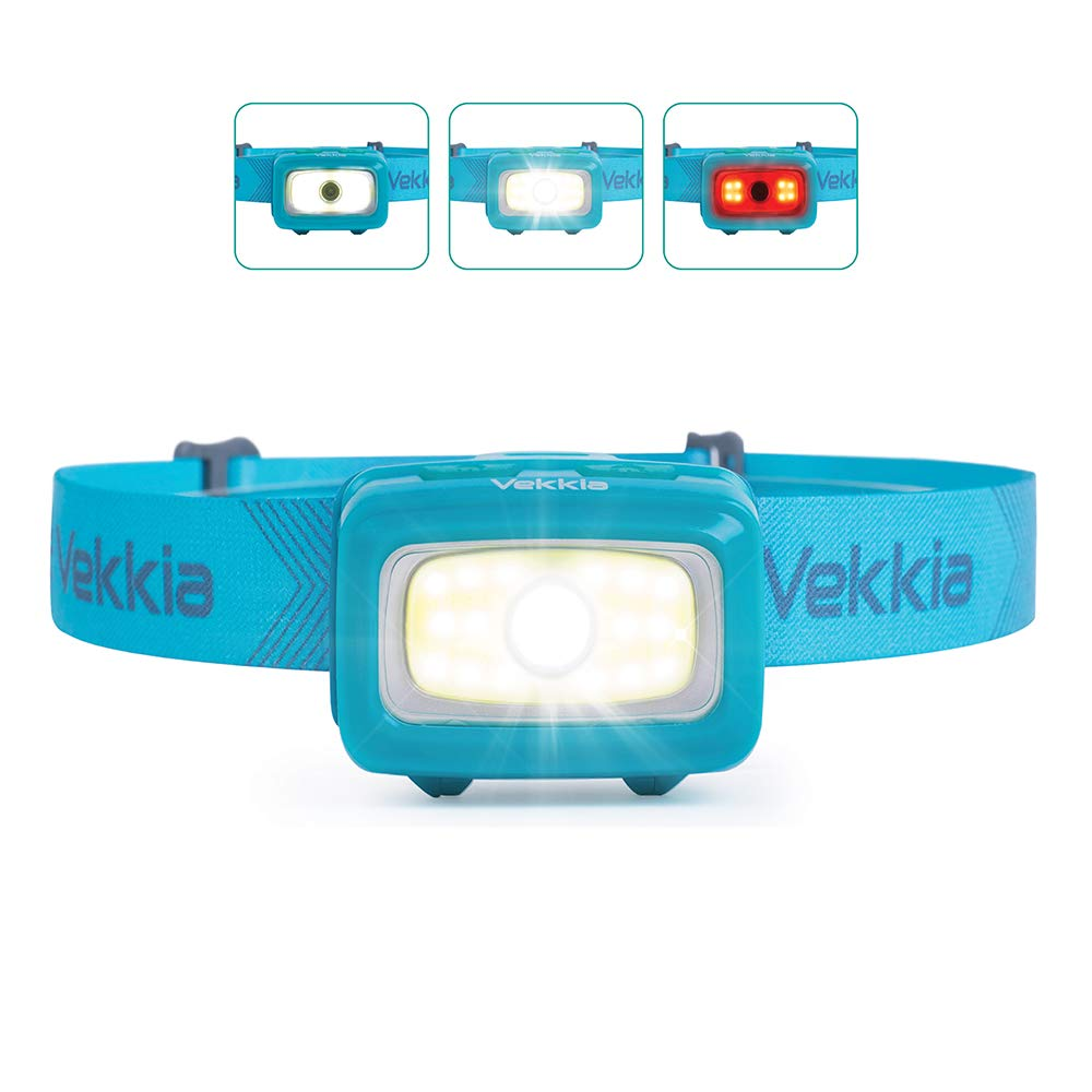 Vekkia CREE COB Bright Headlamp,300 Lumen Camping Lights,6 Lighting Modes,White & Red Lights,Portable,Adjustable,Waterproof,Great for Hiking Running Fishing Hunting Working Outdoor,Batteries Included