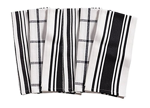 KAF Home Centerband/Basketweave/Windowpane - Set of 3 Kitchen towel (Black)