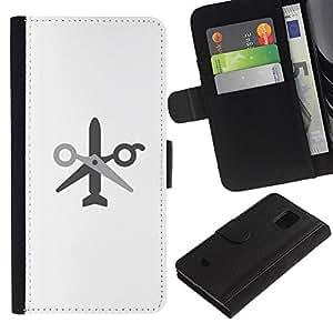 LASTONE PHONE CASE / Lujo Billetera de Cuero Caso del tirón Titular de la tarjeta Flip Carcasa Funda para Samsung Galaxy S5 Mini, SM-G800, NOT S5 REGULAR! / no wor no missile