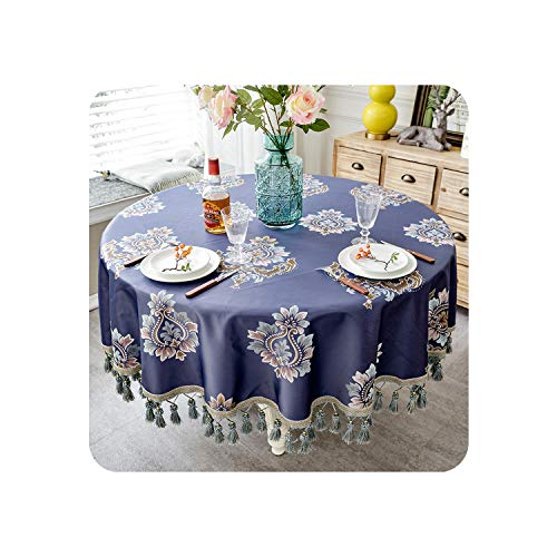 Sudran-baby European Style Tablecloth with Tassel for Wedding Birthday Party Round Table Cover Desk Cloth for Home Decor,2,220x220cm Round ()