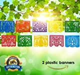 Mexican Decorations Papel Picado Banner -2 PACK -Colorful Tissue Coco Movie -20 Bright Plastic Panels (over 16 Feet Long Each) -Fiesta Party Birthday Festive Celebrations Cinco de Mayo- Handmade