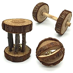 KZHAREEN Natural Wooden Chew Toys Barrel Roller Ball Bell Birds Hamster Rabbits Rat Small Animal Playing Chewing 27
