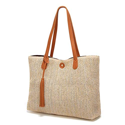 Straw Shoulder Bag large capacity Handbag Fashion Tote bag with Tassels for women (Brown) (Contact Direct Rattan)