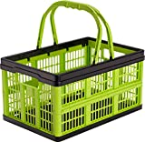 CleverMade CleverCrates 16 Liter Shopping Basket/Grocery Tote: Collapsible Storage Bin/Container, Kiwi Green