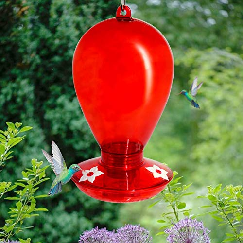 Twinkle Star Round Hummingbird Feeder with 3 Feeding Ports, Hanging for Outdoor Garden Tree, 35 Ounce