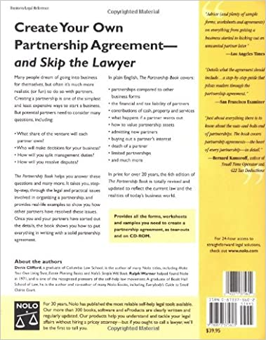 The Partnership Book How To Write A Partnership Agreement With