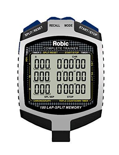 Robic 180 Dual Split Memory Stopwatch with Triple Multi Function Countdown Timer, Silver/Black/Blue