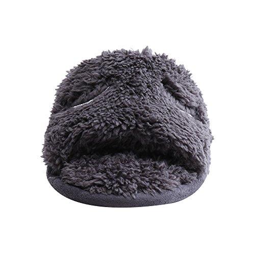 Frau Fleece Coral bequeme Hausschuhe warme Hausschuhe beiläufige nette Plüsch Bout Öffnen Peep-Toe Hausschuhe Beleg WILLIAM&KATE (40-41, Grau)
