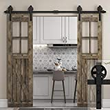 8 FT Heavy Duty Double Sliding Barn Wood Door Hardware Track Kit,Sliding Smooth Quiet,Easy Install,One Piece 8FT Track,Ultra Sturdy,for Bedroom Parlour Aisle Garage(8FT Track Double Door Kit)