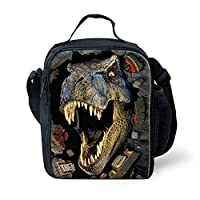 INSTANTARTS 3D Animal Dinosaur Shark Tiger Print Child School Picnic Tote Insulated Lunch Box
