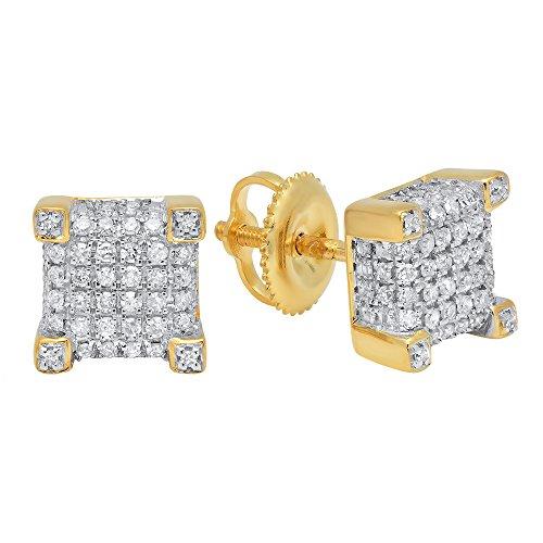 Fancy Yellow Round Diamond - 0.25 Carat (ctw) 10K Yellow Gold Round Diamond Dice Shaped Hip Hop Mens Stud Earrings 1/4 CT