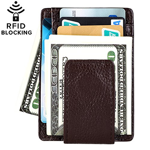 Front Pocket Crad Holder Slim Leather Wallet with Strong Magnetic RFID Blocking AOCOAKW Money Clip Wallets for Men Gifts