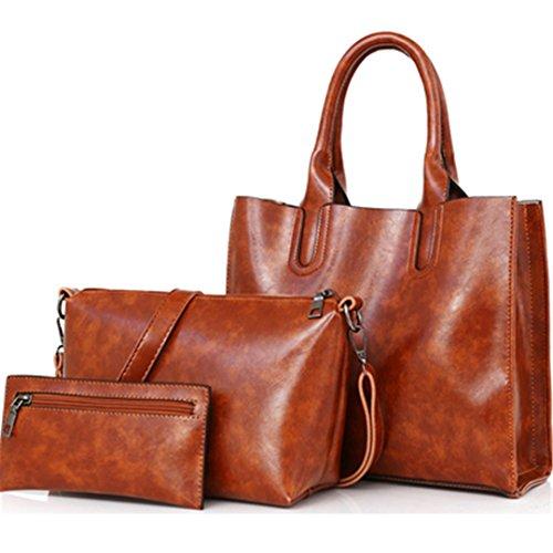 3 pcs/Set Cera Aceite de cuero pu Bolsa Mujer Casual bolsos femenino compuesto de gran capacidad Bolsa grande mujer bolsas de hombro Beige 30cm 12cm 26cm Brown