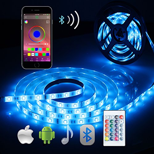 ALED LIGHT Bluetooth LED Strip Lights, 5050 16.4 ft/5 Meter 150 LED Stripes Lights Smart-Phone Controlled Waterproof RGB LED Band Light for Home&Outdoor Decoration ()