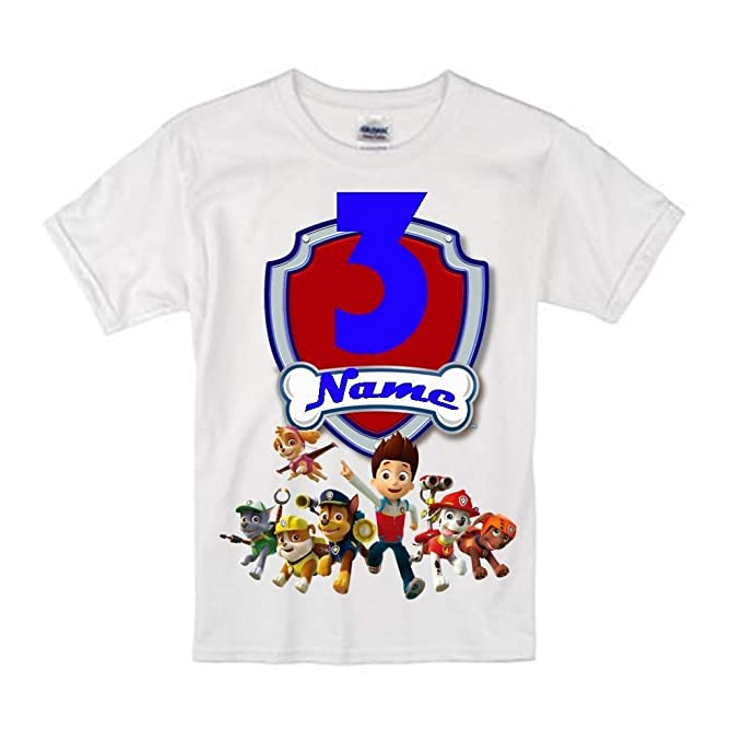 d072b7d95 Sprinklecart Paw Patrol Customized Name Printed Kids 3rd Birthday T Shirt  18 White