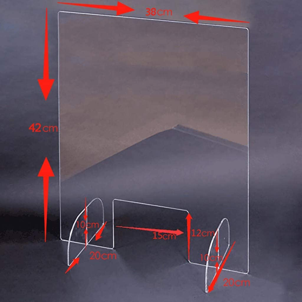 Haluoo Sneeze Guard Portable Clear Acrylic Freestanding Protective Sneeze Shield Plexiglass Protection Barrier for Counter Desk Checkout Cashier Reception Employers Workers Customers 3842Cm