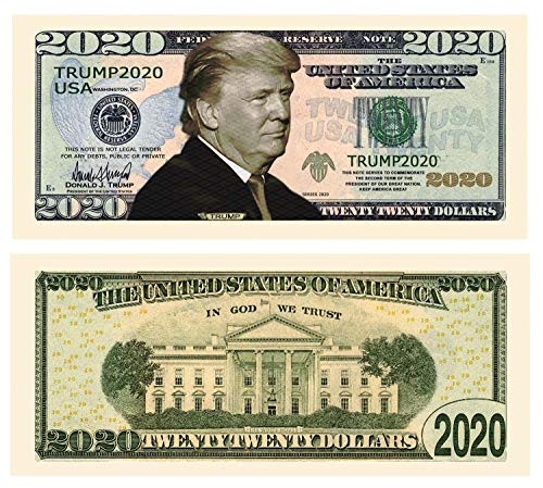 American Art Classics Pack of 50 - Donald Trump 2020 Re-Election Presidential Dollar Bill - Limited Edition Novelty Dollar Bill - The Best Gift Or Keepsake for Lovers of Our Great President (Dollars Novelty)