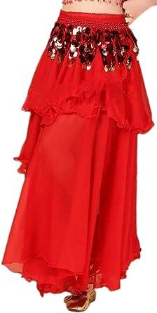 dahuo Falda Larga de Gasa para Mujer, Color Liso Rojo Rosso 36 ...