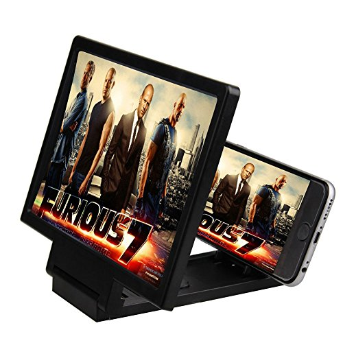 Mobile Phone 3D Magnifier Screen Portable Folding Enlarged HD Amplifier (black)