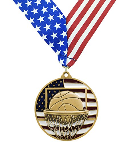 Gold Patriotic Basketball Medals - 2.75