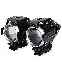 AutoLover Motorcycle Headlights,2PCS Cree U5 Motorcycle LED Headlights Waterproof SpotLight Laser Driving Fog Lamps High Beam