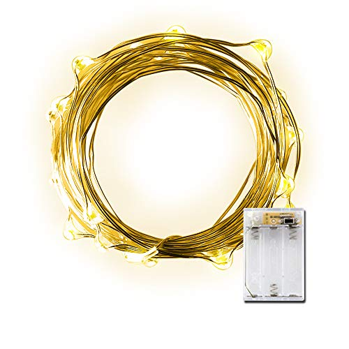 LIDORE Micro LED 20 Yellow String Light with Timer Battery Operated on 7.87ft Silver Color Ultra Thin Copper Wire