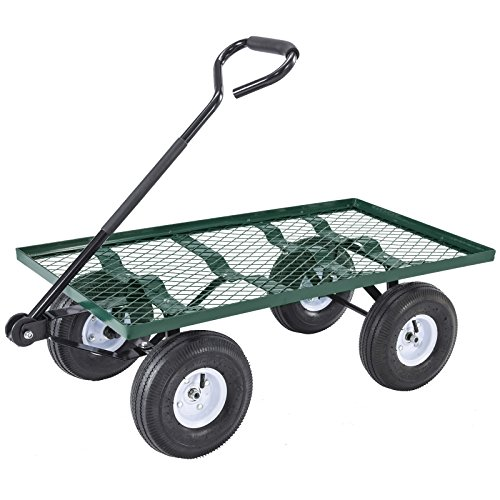 SUNCOO Garden Cart Wagon with Tires Wheels, Outdoor Yard Steel Cart Heavy-Duty 660-lbs Capacity, Green