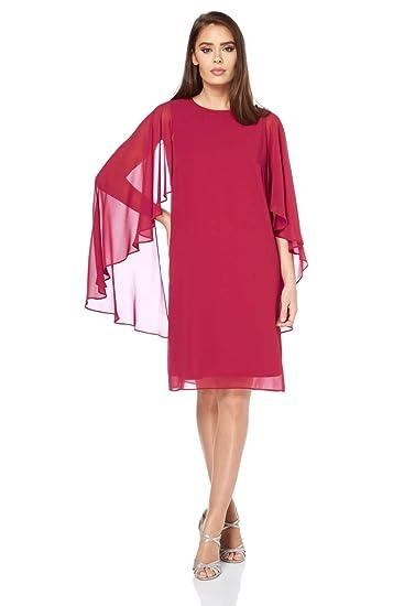 Roman Originals Womens Chiffon Cape Sleeve Dress - Ladies Party Knee Length Layered Asymmetric Sleeves Shift