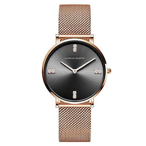 Women Watch,L'ananas Black Face Rhinestone Mesh Strap Free Size Luxurious Quartz Anolog Wristwatches (Rose Gold) from L'ananas-Watches