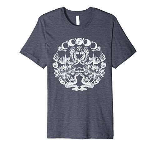 Mens Sacred Geometry Shirt - Elephant Lotus Circle XL Heather (Lotus Elephant)