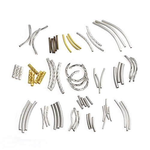 Metal Bracelet Jewelry (Yumei Jewelry 20 types Metal Tube Assortment for Necklace Bracelet Jewelry Making)