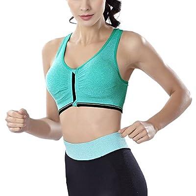Ferbia Womens Sports Bra Fitness Comfort Active Yoga Underwear Zip Front Workout Activewear