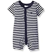 absorba Baby Boys' Anchor Cotton Spandex Romper, Blue Stripe, 0-3m