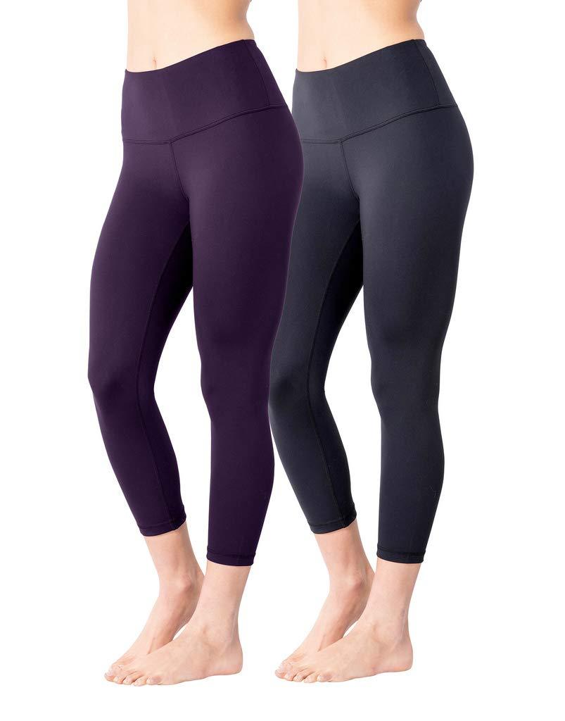 Yogalicious High Waist Ultra Soft Lightweight Capris - High Rise Yoga Pants - Black and Posh Plum 2 Pack - XS